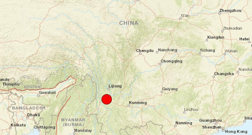 Terremoto de magnitud 6 sacude la provincia china de Yunnan. (USGS).