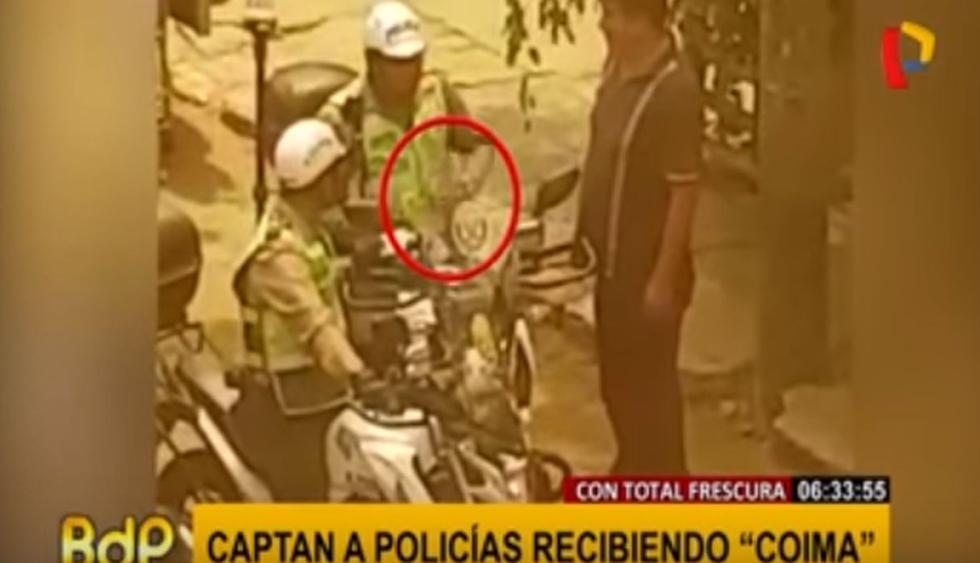 Dos policías recibieron 'coima', en La Victoria.(Capturas: Buenos Días, Perú)