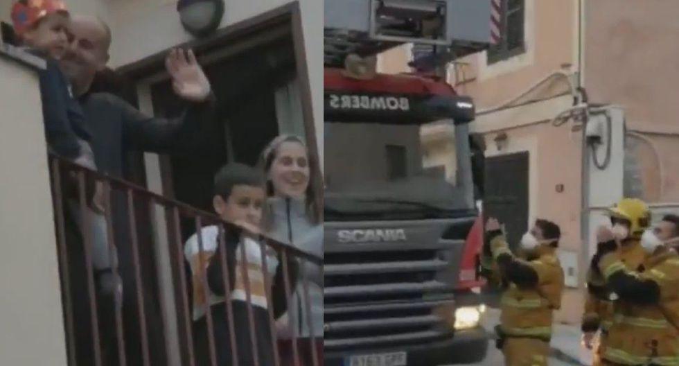 Bomberos de España le llevan sorpresa de cumpleaños a niño, pero son criticados en redes sociales
