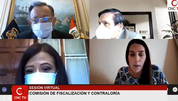 Mirian Morales (esquina inferior izquierda) respondió las preguntas de la Comisión de Fiscalización.
