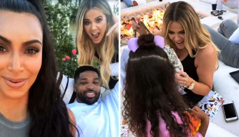 Kim Kardashian, Khloé Kardashian y Tristan Thompson (Fotos: Instagram)
