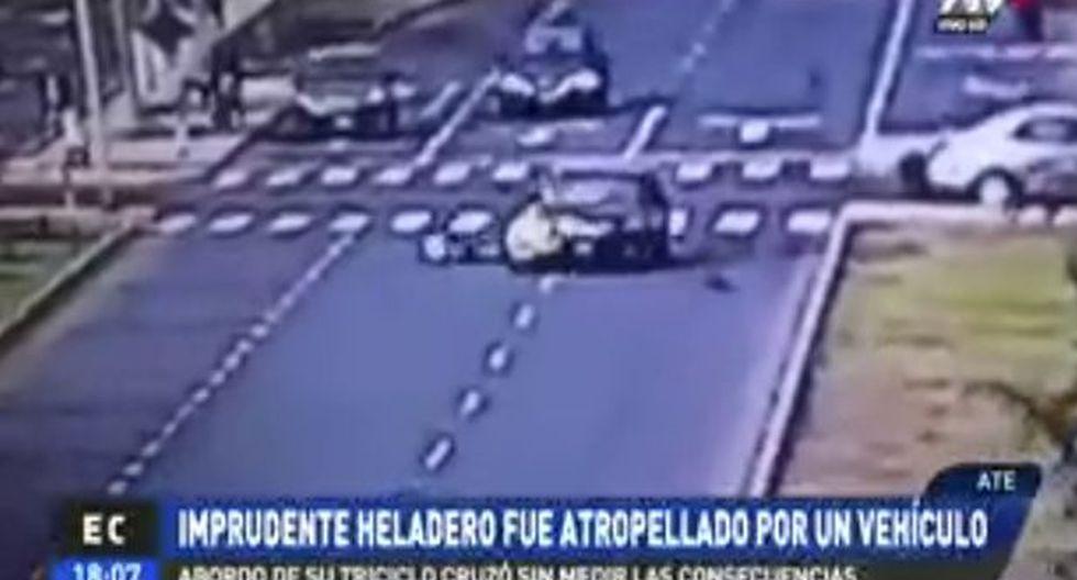 Heladero cruzó imprudentemente la pista. (ATV)