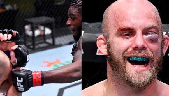 El norteamericano Justin Jaynes terminó con una horrorosa lesión en el ojo izquierdo. (Fotos: UFC/ Twitter ESPN MMA)
