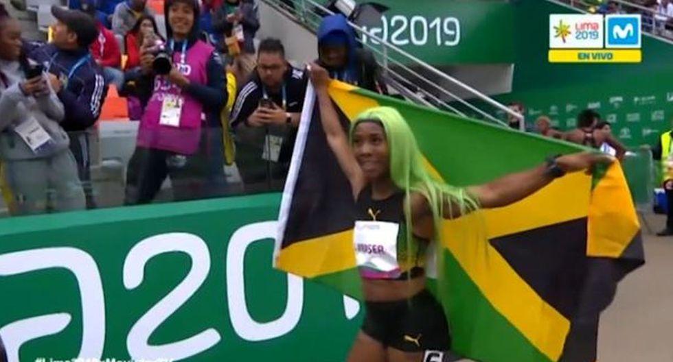 Lima 2019: El estrafalario y colorido look de jamaiquina Fraser-Pryce al ganar oro con récord en 200 metros
