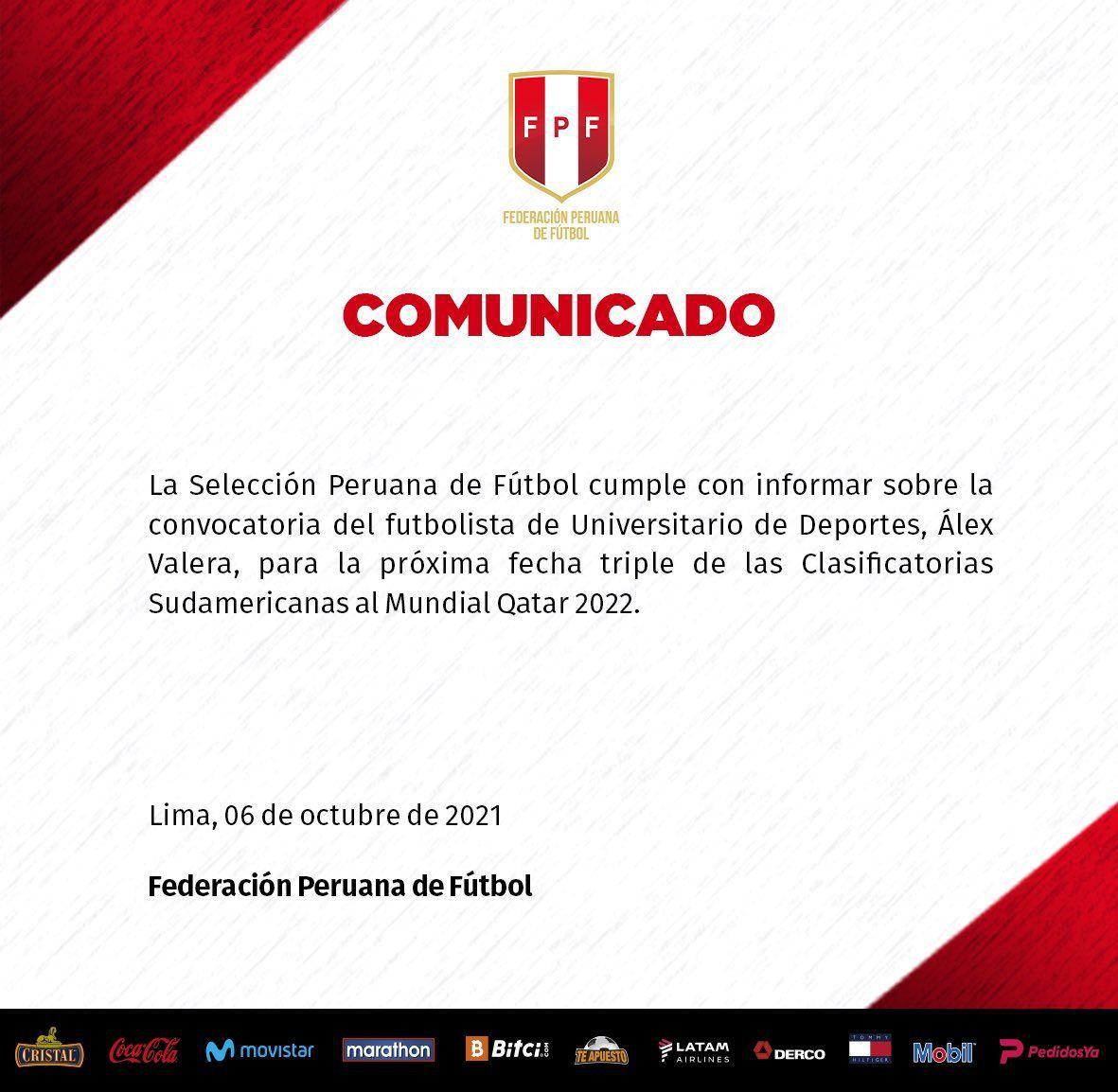 El comunicado de la selección peruana que confirma la convocatoria de Alex Valera. (Foto: FPF)