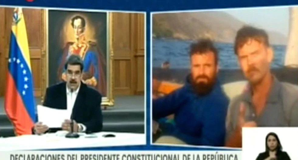 Imagen de archivo. Captura tomada del canal VTV de la televisión venezolana que muestra al presidente de Venezuela, Nicolás Maduro, junto a los retratos de los estadounidenses Airan Berry y Luke Denman. (EFE/VTV).