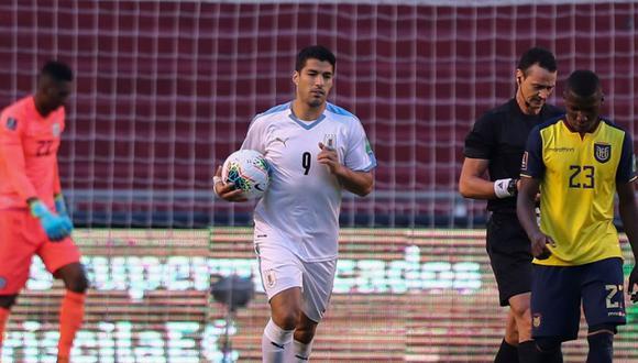 Luis Suárez anotó un doblete en el Ecuador vs Uruguay por las Eliminatorias Qatar 2022. (Agencias)