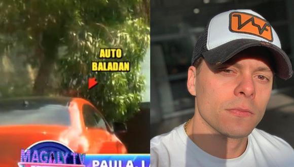 Auto rojo de Ignacio Baladán estaba afuera de reunión donde se encontraba Paula Manzanal. (Captura Magaly TV/ Instagram)