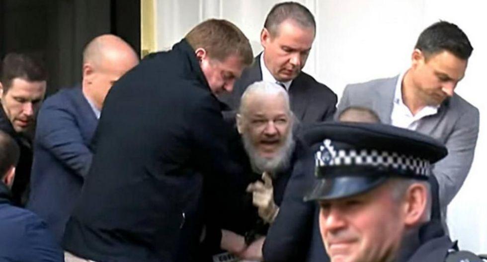 Así fue sacado Julian Assange de la legación diplomática ecuatoriana en Londres. (Foto: EFE)