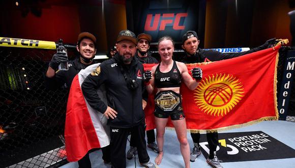 Valentina Shevchenko y otra nueva celebración en el UFC. (UFC Europe)