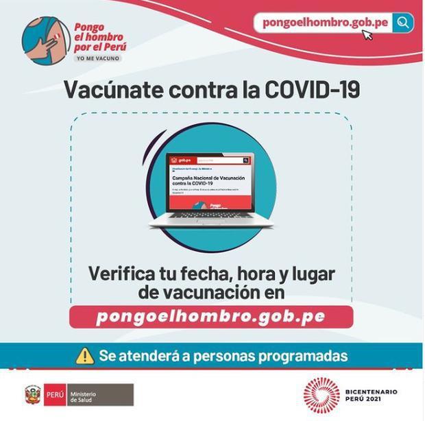 Ingresa a la página 'Pongo el hombro' del Minsa para saber cuándo te corresponde ser inmunizado. Foto: Minsa