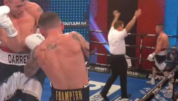 Boxeador escocés ya no quiso seguir peleando. (Captura Twitter)