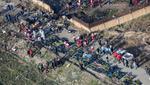 Una imagen panorámica del accidente del Boeing 737 en Irán. (AFP)