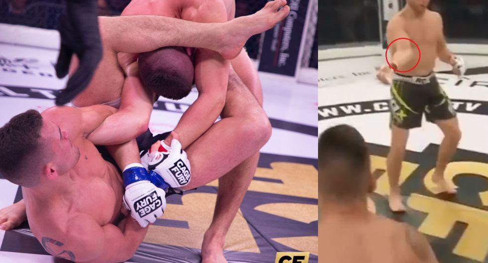 Terrible lesión en las MMA. (Fotos: Cage Fury Fighting Championship/Captura video)