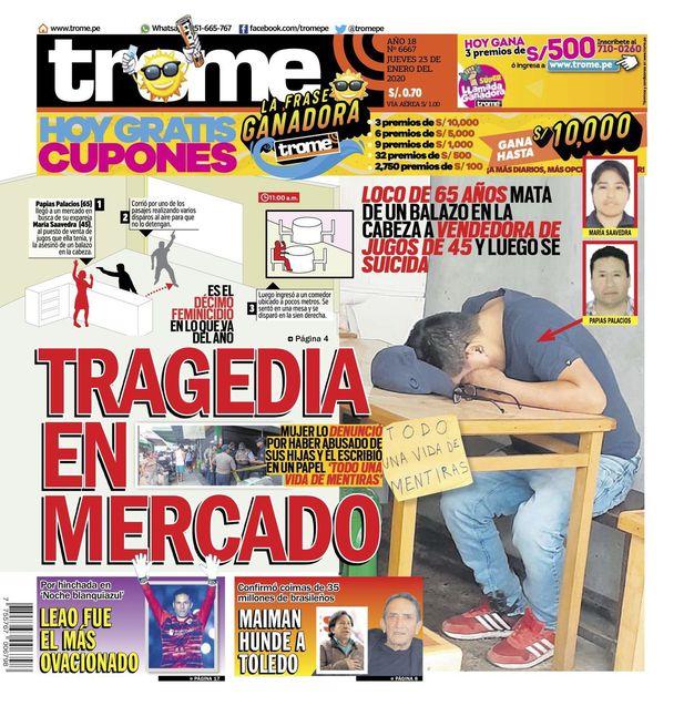 Portada Trome | Tragedia en Mercado