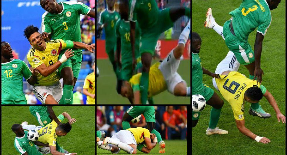 Radamel Falcao sufrió terrible falta de doble impacto y tras caída se temió lo peor en Colombia vs Senegal