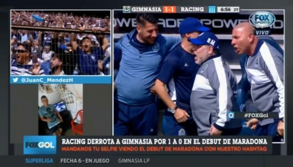 Reacción de Maradona al gol de Gimnasia
