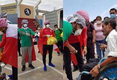 Trujillo: Árabe repartió víveres y pescado con la bandera peruana en la espalda | FOTOS