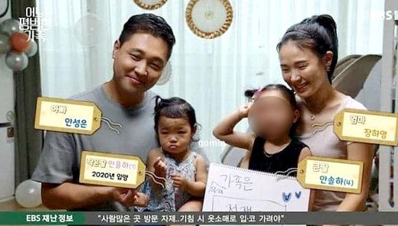 Imagen de Jeongin y sus padres adoptivos en un programa coreano ya evidenciaba que era maltratada