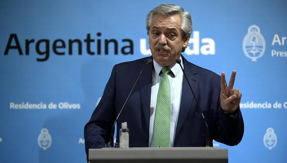 Alberto Fernández, presidente de Argentina, anuncia cuarentena en todo el país por el coronavirus. (Foto: AFP)