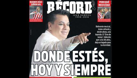 Diario deportivo mexicano rompió su línea editorial en conmemoración a Juan Gabriel, quien falleció el pasado domingo