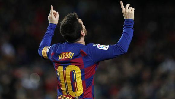 Lionel Messi celebrando su primer gol en la era Quique Setién