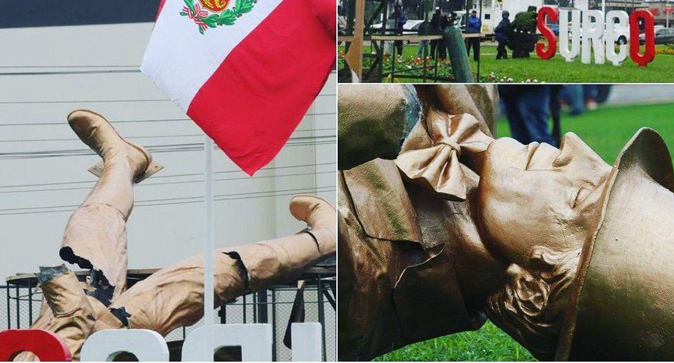 Surco: Retiran escultura de whisky Johnnie Walker instalada al lado de estatua de Miguel Grau