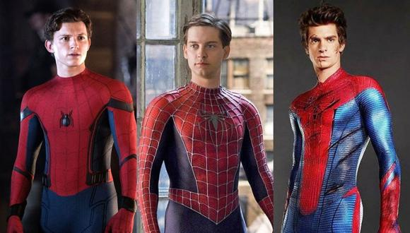 Tom Holland, Tobey Maguire y Andrew Garfield. (Redes)