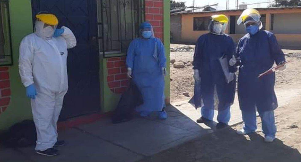 Ica: Cinco Equipos de Respuesta Rápida de la Red de Salud de Ica salieron en busca de posibles casos de coronavirus casa por casa, en el distrito de Tate. (Foto: Red de Salud de Ica)