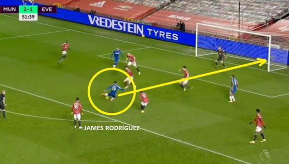 James Rodríguez anotó este golazo en Manchester United vs Everton por Premier League
