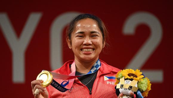 Hidilyn Diaz, la primera medalla de oro de Filipinas en unos Juegos Olímpicos. La consiguió en Tokio 2020.