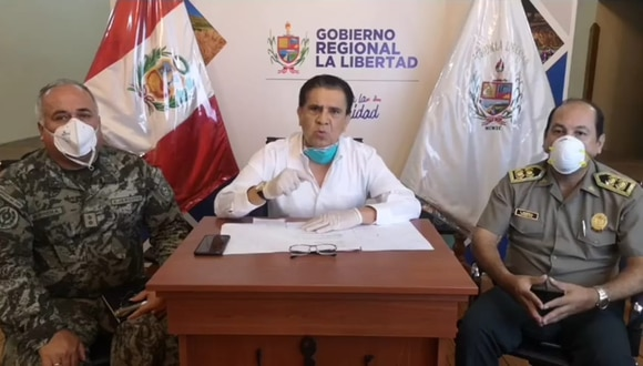 El gobernador de La Libertad, Manuel Llempén, se reunió con el jefe de la Macrorregión Policial y el general del Ejército.  (Foto: Gobierno Regional de La Libertad)