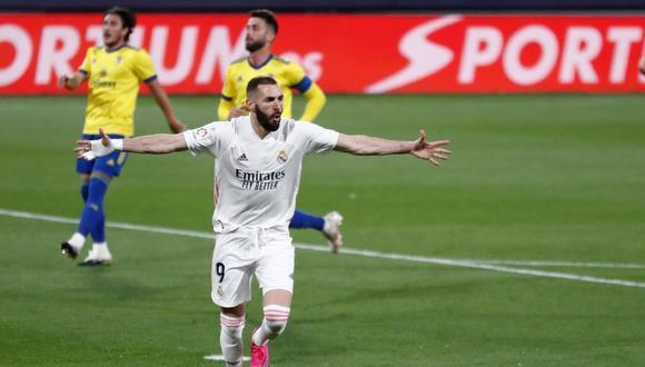Karim Benzema marcó doblete a Cádiz por LaLiga Santander.