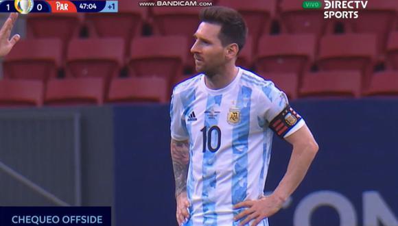 El 2-0 anulado en el Argentina vs. Paraguay. (Captura: DirecTV)