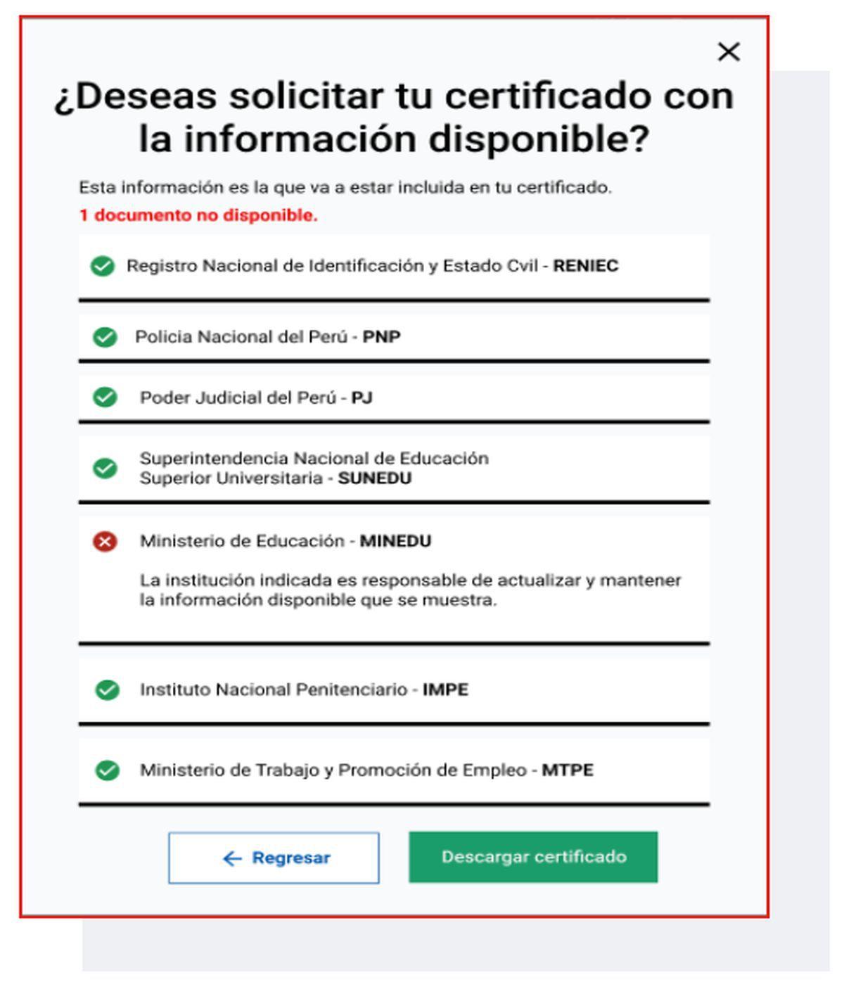 En algunos casos, el CUL contiene información incompleta debido a que no todas las entidades involucradas han proveído los datos necesarios para su emisión (Imagen: Empleos Perú - MTPE)