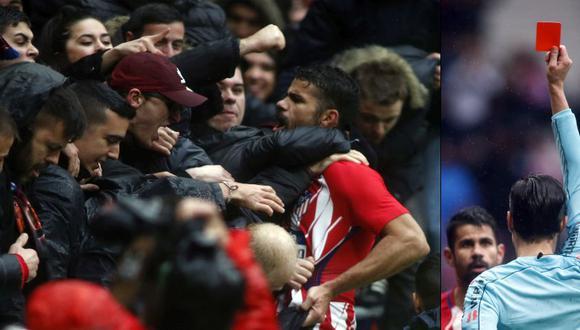 Diego Costa marcó golazo, festejó con hinchas y fue expulsado en la victoria del Atlético Madrid
