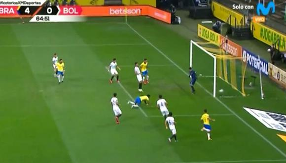 Autogol de José Carrasco para el 4-0 de Brasil vs Bolivia. (Movistar Deportes)