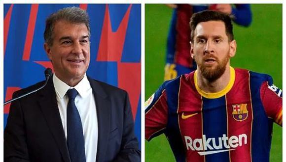 Joan Laporta, presidente de Barcelona, adelantó que Lionel Messi quiere seguir en el club. (Foto: Twitter)