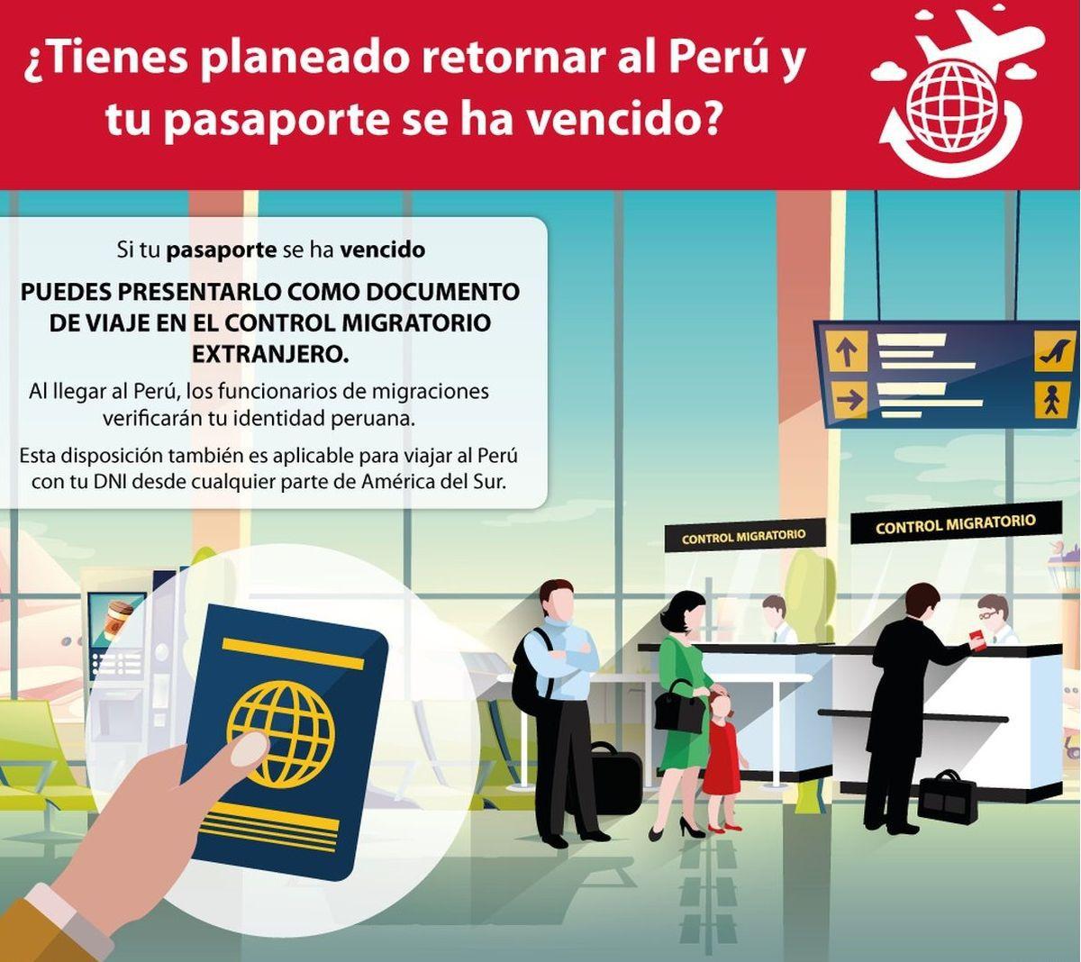 Si estás retornando al Perú desde alguno de los países de América del Sur, puedes hacerlo con tu pasaporte vencido (Imagen: MRE)