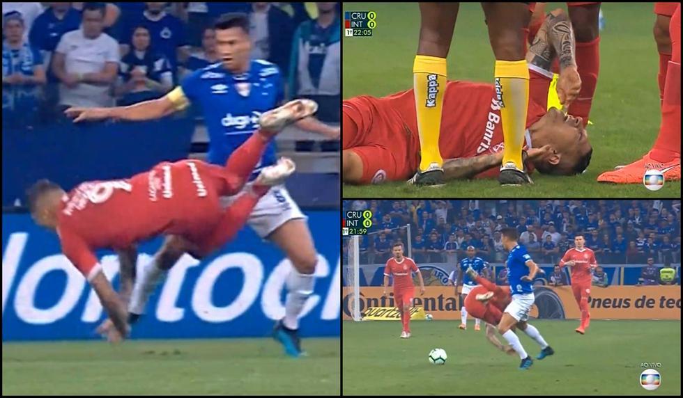 Paolo Guerrero humilló a rival con gambeta y taco, pero con brutal patada lo hicieron volar