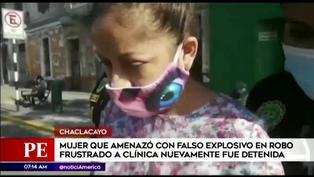 Policía recaptura a mujer que usó falso explosivo en frustrado asalto a clínica