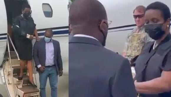 Primera dama de Haití, Martine Moise, llegando este sábado a Puerto Príncipe. (Foto: captura de pantalla | Twitter)
