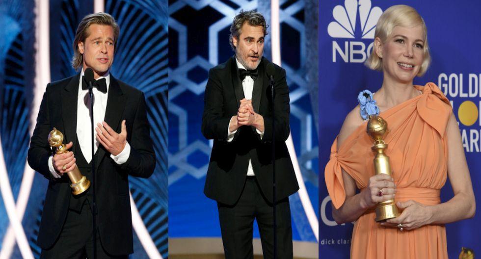 Brad Pitt, Joaquin Phoenix y Michelle Williams, ganadores en los Globos de Oro 2020. (Agencias)