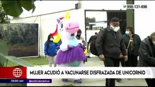 San Isidro: Mujer acude a su vacunación vestida de unicornio