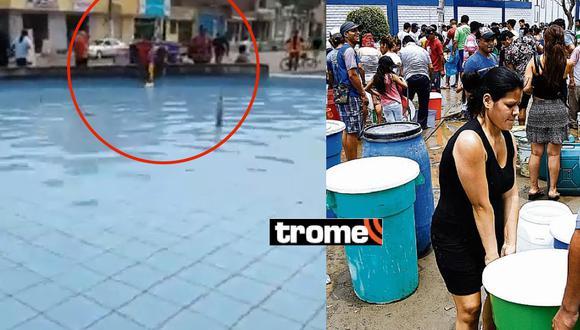 Vecinos de SJL sacan agua de piletas ante desesperación por falta de este recurso.