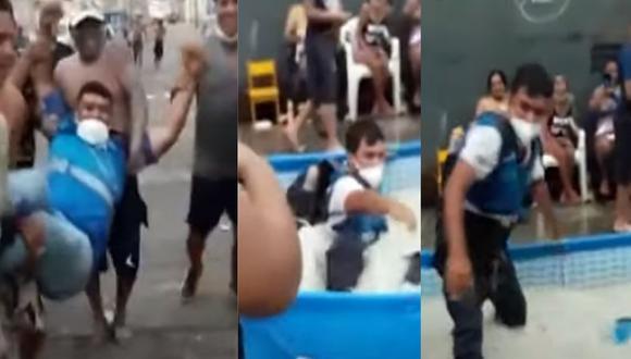 Vecinos arrojan a la piscina a fiscalizadores que llegaron a la zona para multarlos