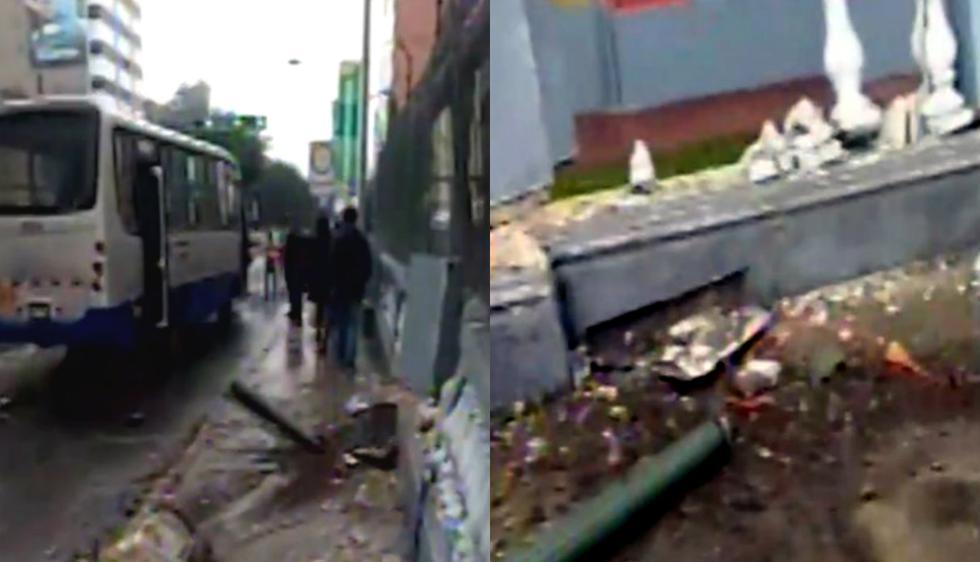 Chofer del Corredor Azul intenta evadir a ciclista y se estrella contra la Embajada de Venezuela. Video: Canal N