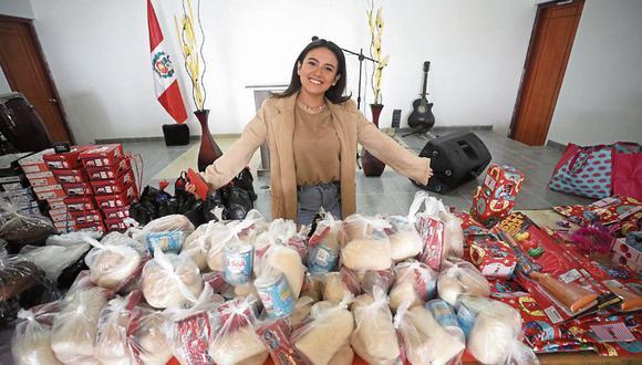 Amy Gutiérrez llevó ayuda a los niños en Ventanilla. (Foto: Britanie Arroyo/Trome)