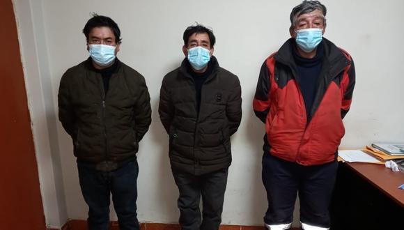 Cajamarca: Siete vigilantes resultaron heridos en violento ataque a campamento minero. Tras el enfrentamiento, personal del Frente Policial de Cajamarca detuvo a tres integrantes de una familia por su implicancia en el hecho. (Foto: PNP)