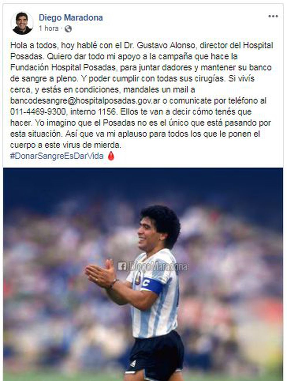 The message Diego Maradona shared on Instagram.
